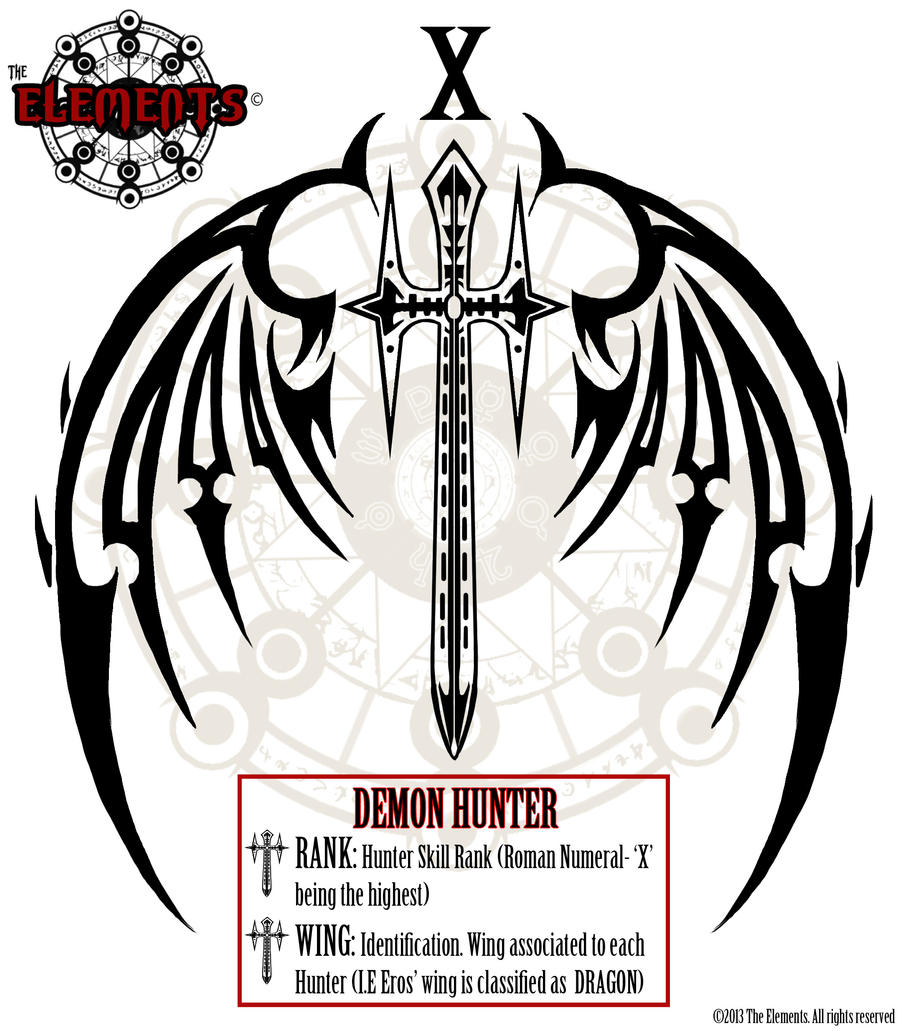 eros 39 s demon hunter tattoo by elementjax on deviantart. Black Bedroom Furniture Sets. Home Design Ideas