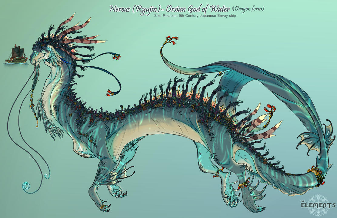 elements  nereus orsian god of water dragon form by