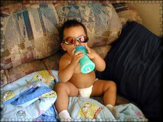 Cool baby milk drinker