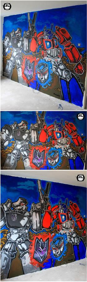 The Robotic Showdown - Transformers Mural