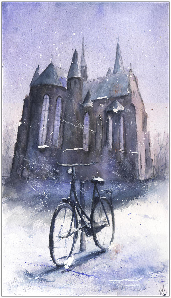 Bicycle in snow by sanderus