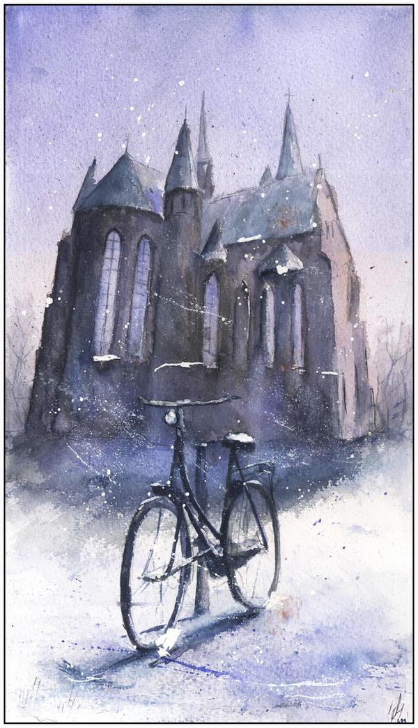 Bicycle in snow by sanderus