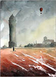 A red field and watertower in Borki