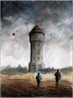 Uthemann watertower in dark by sanderus