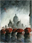 Red umbrellas and old synagogue