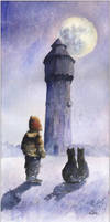 Two little cats and old water tower