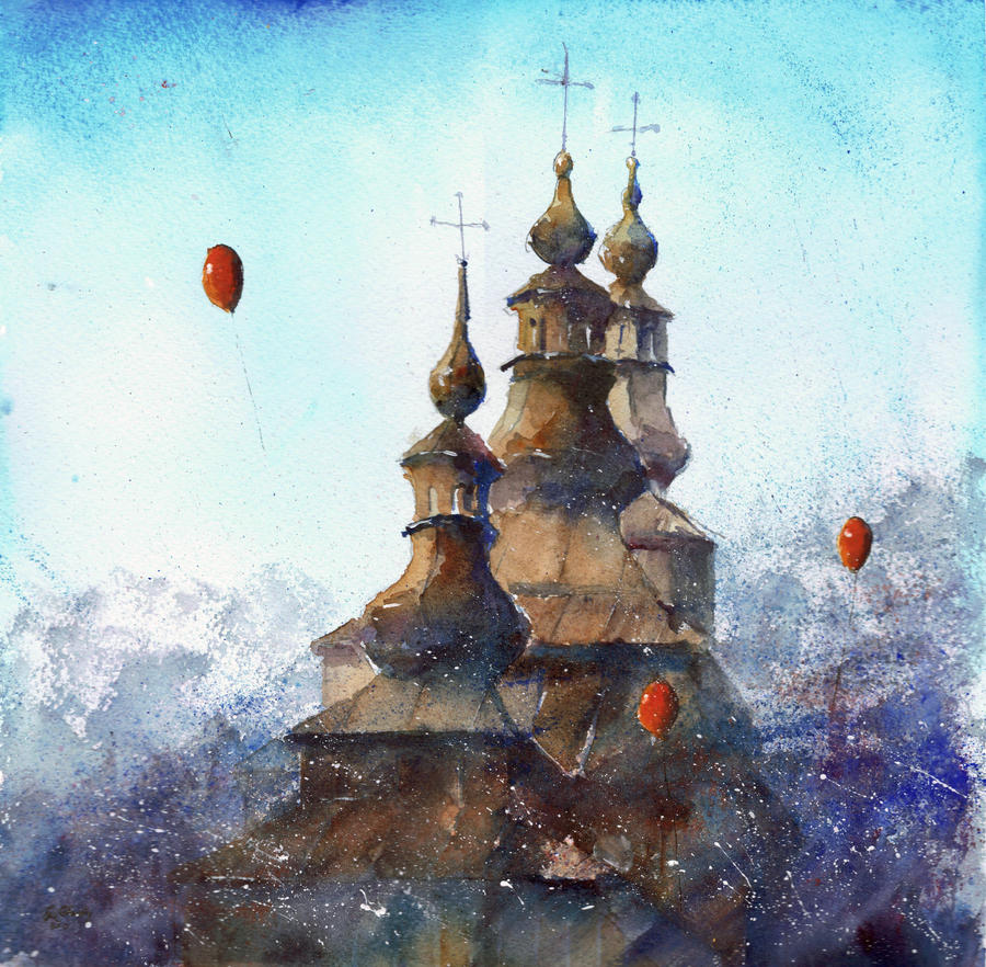 The towers of orthodox churches by sanderus
