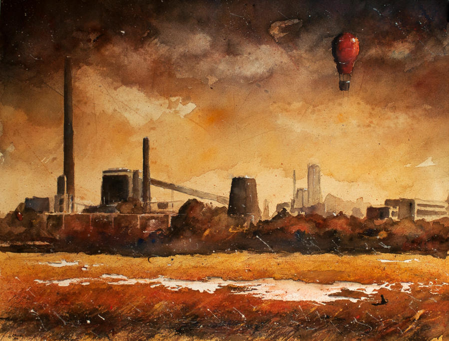 An industrial landscape with cat by sanderus