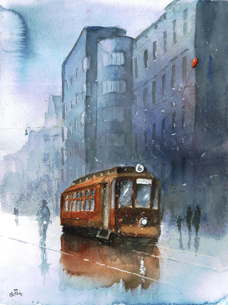 A tram on Kosciuszki Street by sanderus