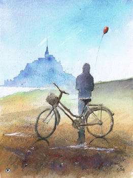 Om bicycle in Mt St Michel