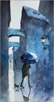 Blue umbrella and a cat