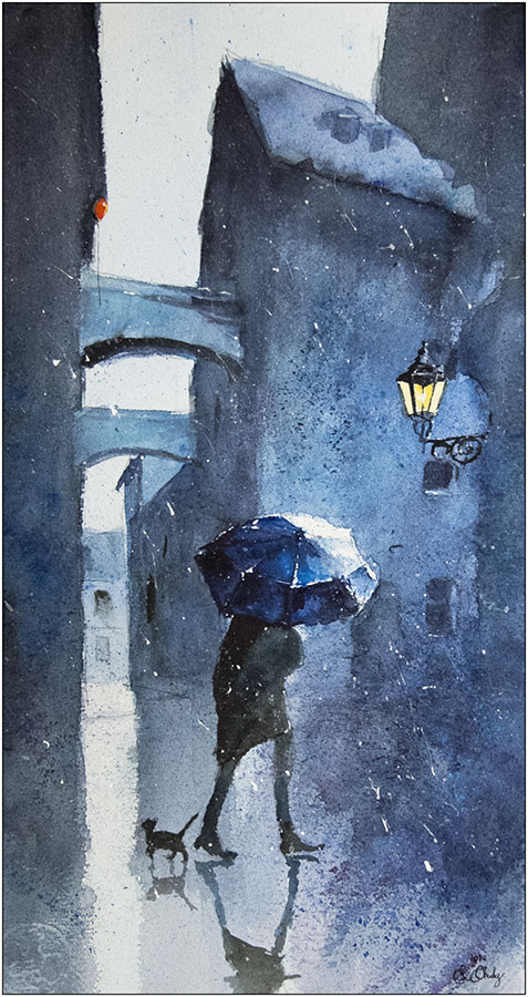 Blue umbrella and a cat by sanderus