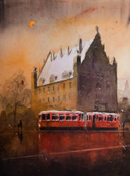 A nocturne with the red tram by sanderus