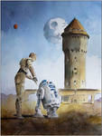 Two robots and an old watertower
