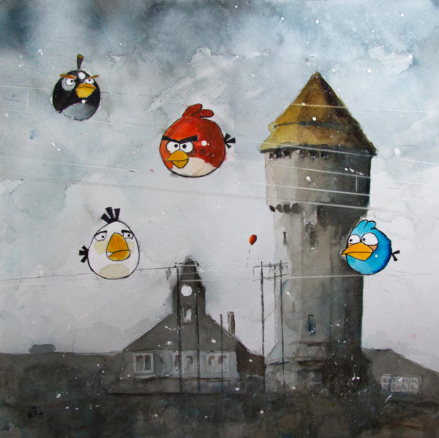 Angry birds and the tower of Uthemann Metalwork by sanderus