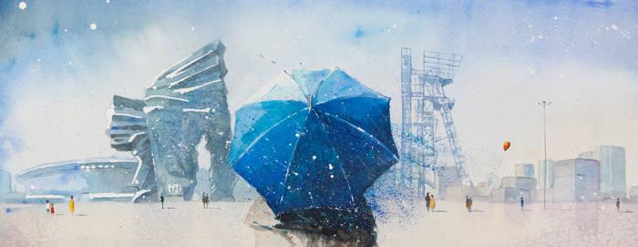 A Landscape with Blue Umbrella