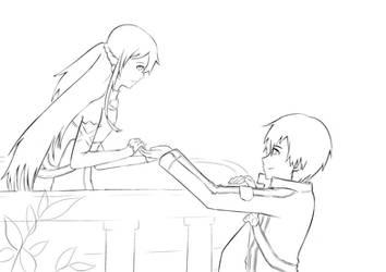 Asuna and Kirito Lineart