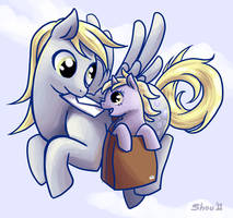 Derpy Hooves and Dinky by Koshou