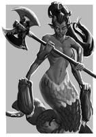 Malcarna, Female four-arm snake demon by zelldweller