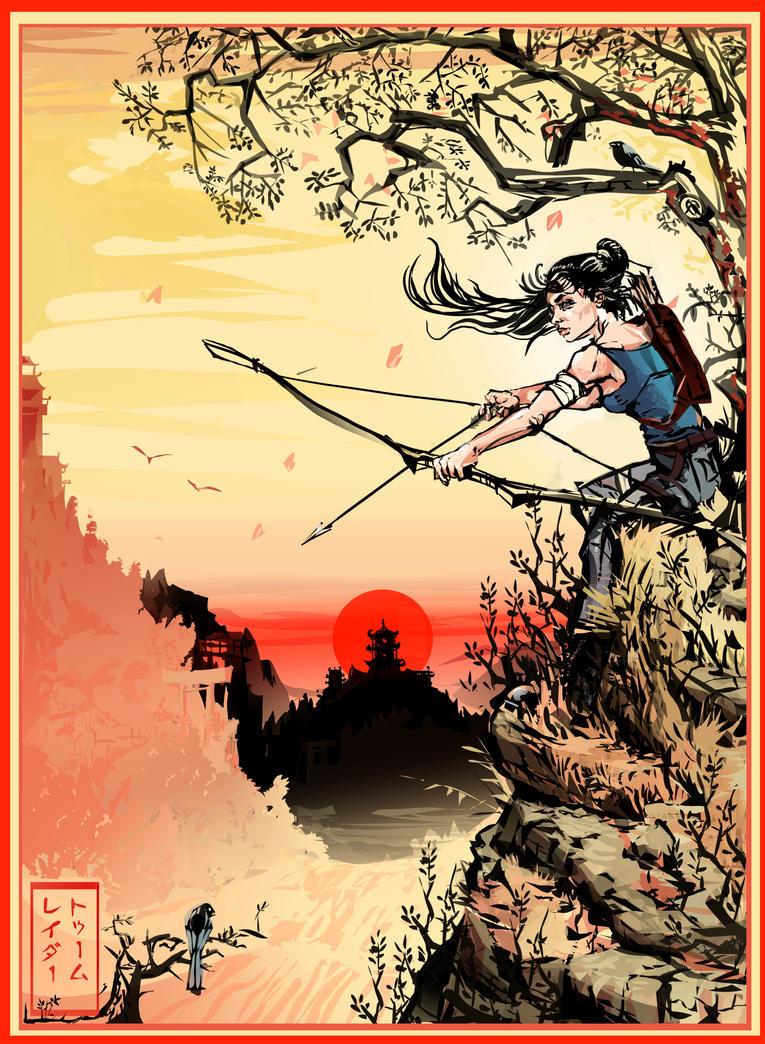 Tomb Raider 2013 (Ukiyo-e inspired) by zelldweller