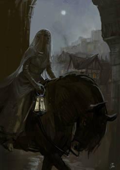 Fleeing elf lady color sketch.