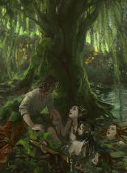 Fool and nymphs in the river