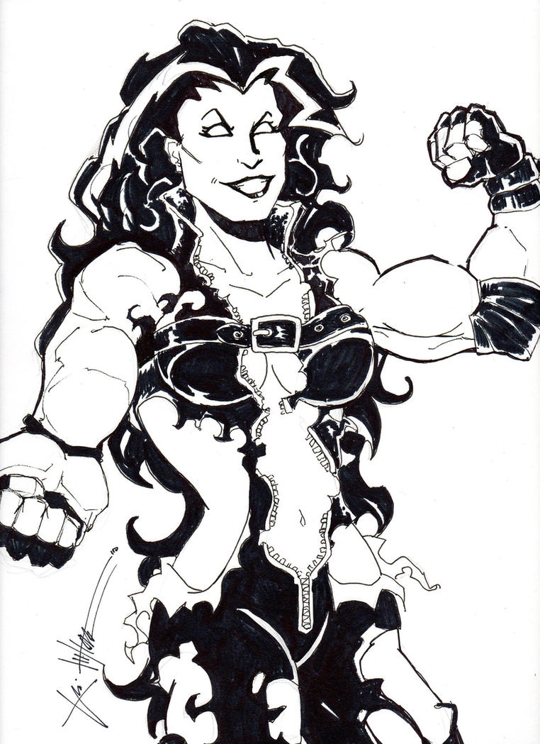 red she hulk by chrisozfulton - She Hulk Coloring Pages