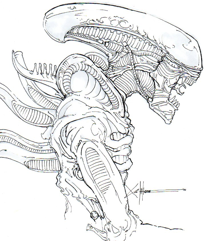 Xenomorph profile by chrisozfulton on deviantart for Xenomorph coloring pages