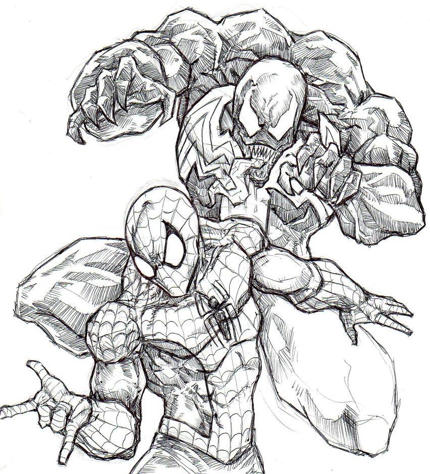 Venom Spiderman Drawing venom and spide...