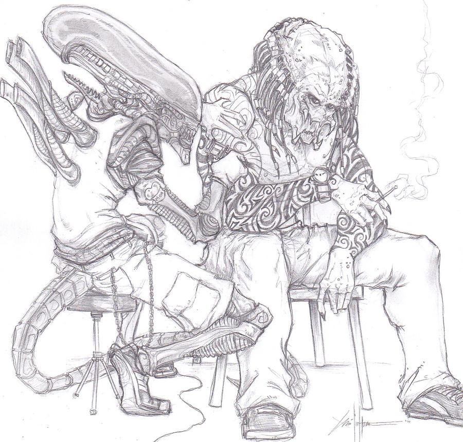 Alien Predator Tattoo Drawing