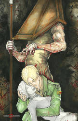 Pyramid Head and James Silent Hill