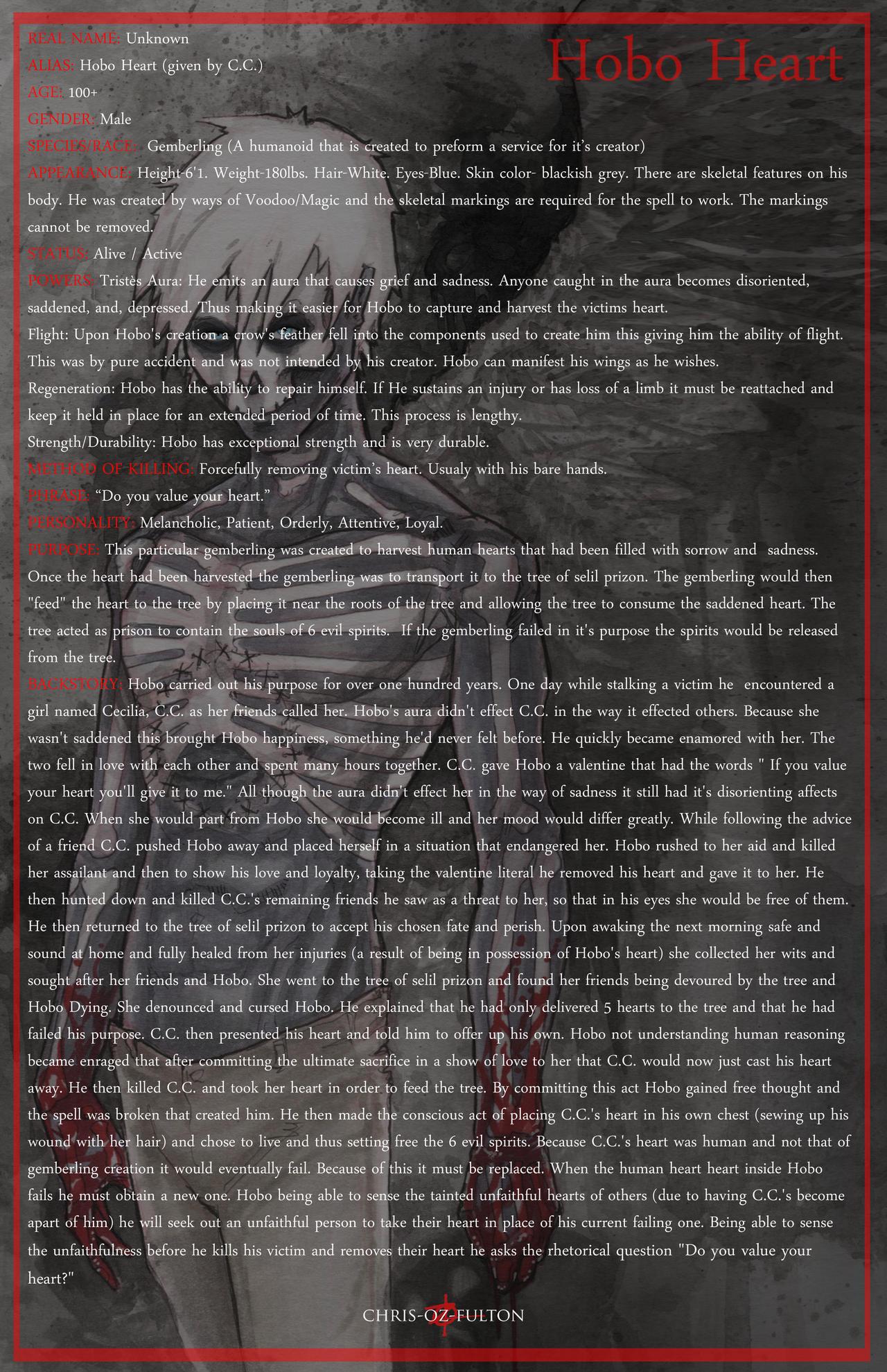 Hobo Heart Creepypasta Character Sheet by ChrisOzFulton