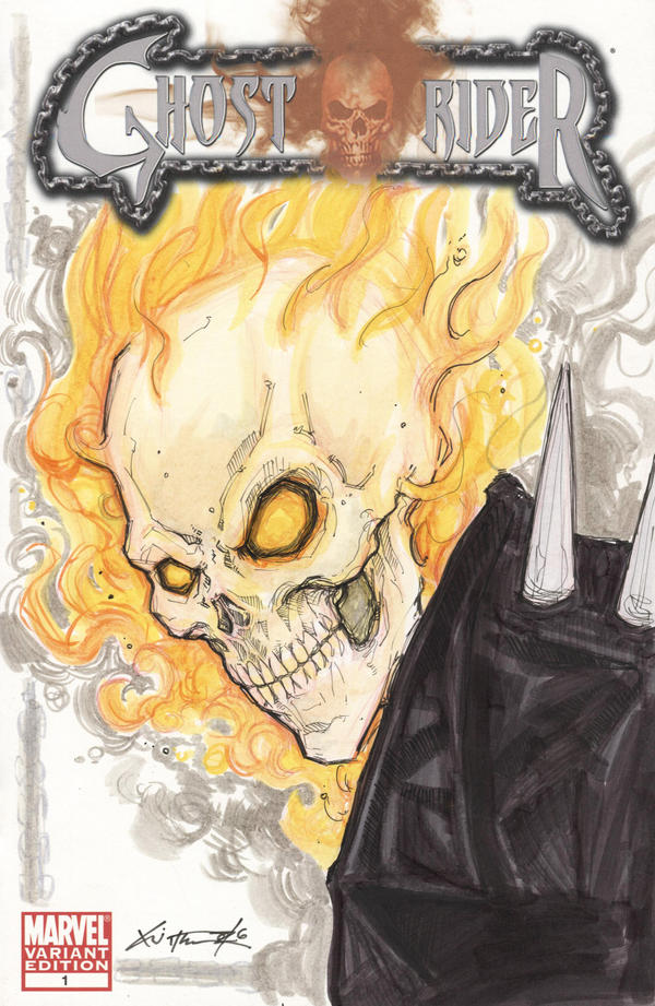 ghost rider comic book sketch cover by chrisozfulton on