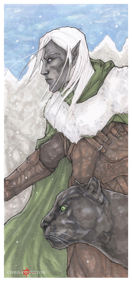 Drizzt Do'urden and Guenhwyvar by ChrisOzFulton