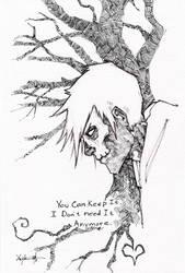 Hobo Heart Creepypasta Pen And Ink by ChrisOzFulton