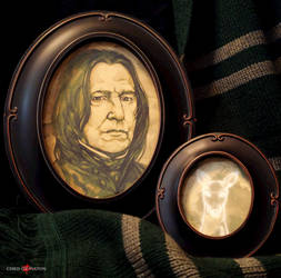 Harry Potter Severus Snape and Patronus Framed Set by ChrisOzFulton