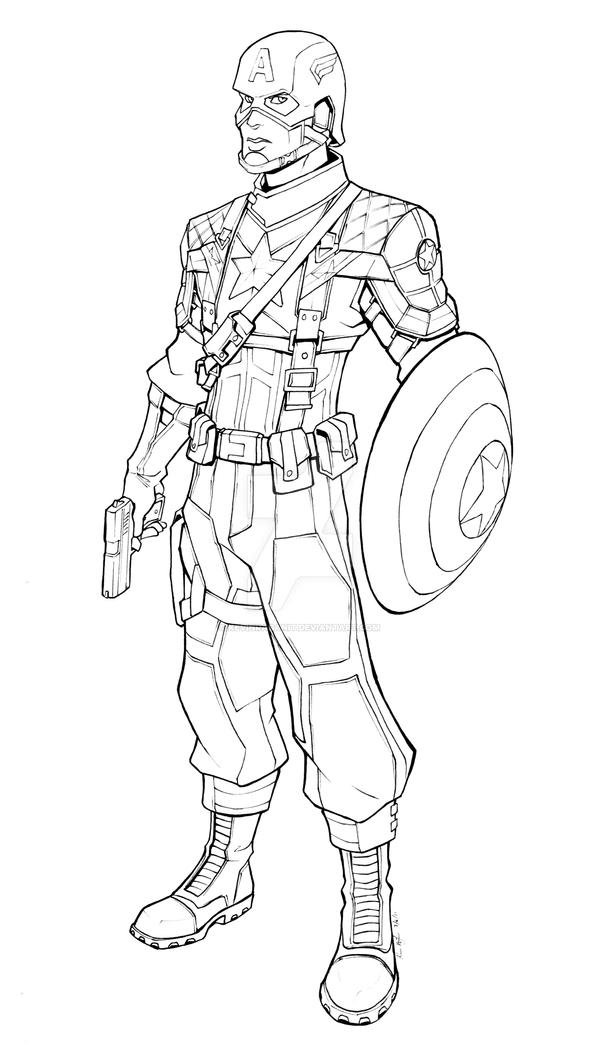 Line Drawing Usa : Movie captain america lineart by kevinraganit on deviantart