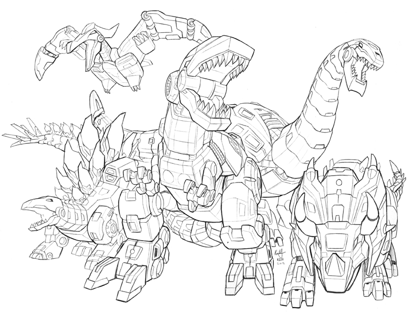 Green Transformer Dinosaur Coloring Coloring Pages