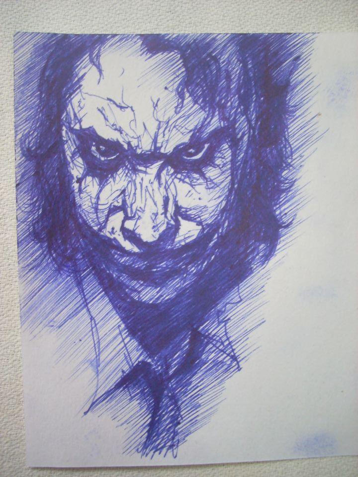 (THE JOKER) Blue Color Pen Sketch. By AlvinFong On DeviantArt