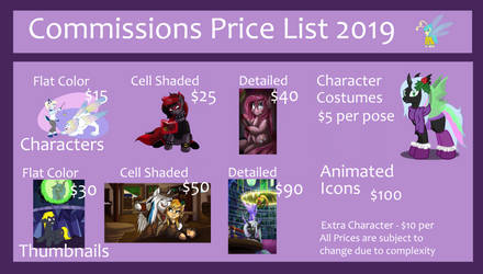 Price List 2019 by CountessMRose
