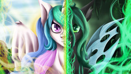 2 Mares Review Princess Celestia Changeling Queen by CountessMRose