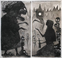 Baba Yaga and Vasilisa Diptych by MiloNeuman