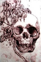 Skull and Roses by Monochrome-Clown