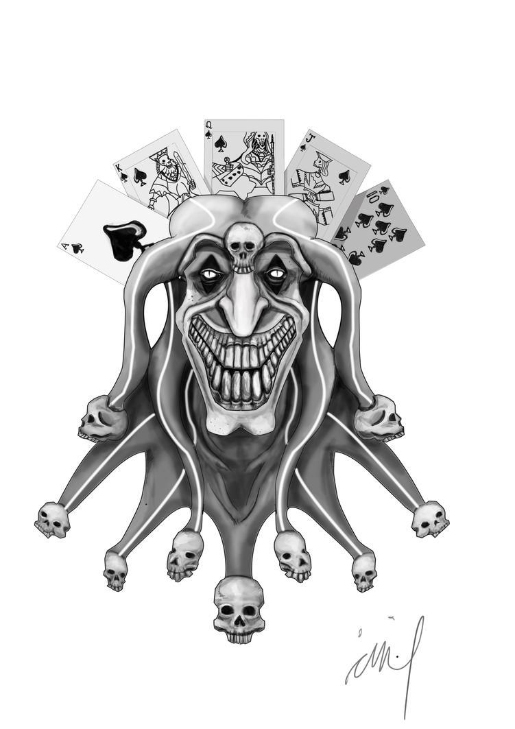 Joker tattoo design by langkjaer on deviantart for Joker skull tattoo