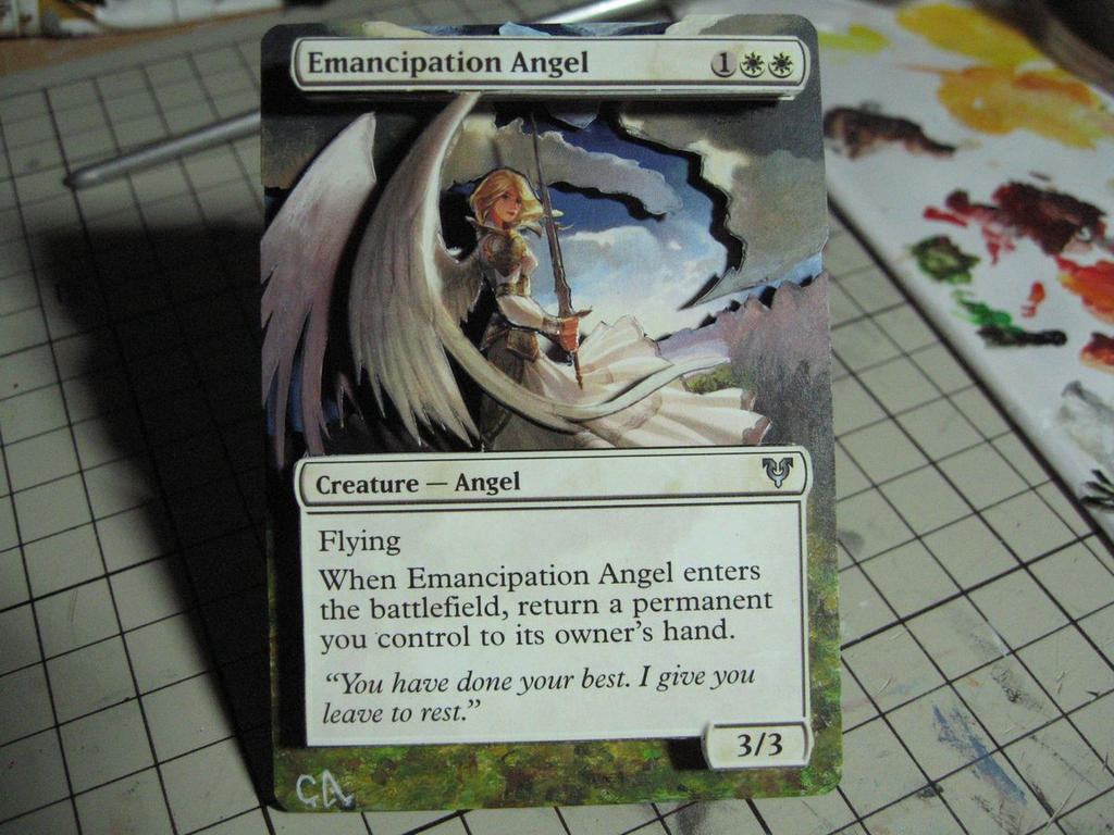 mtg altered and 3d card emancipation angel by ghostarm1911 on deviantart