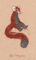 a red pangolin by luve