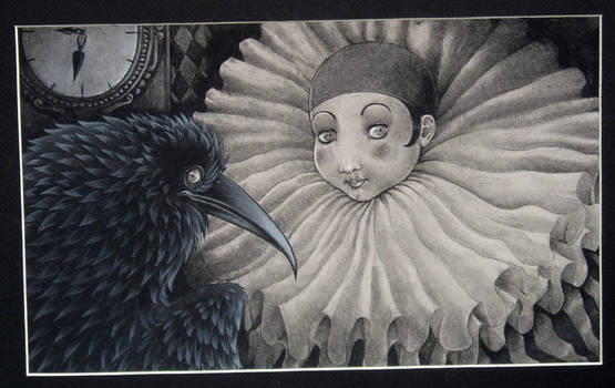 pierrot and a crow - SOLD