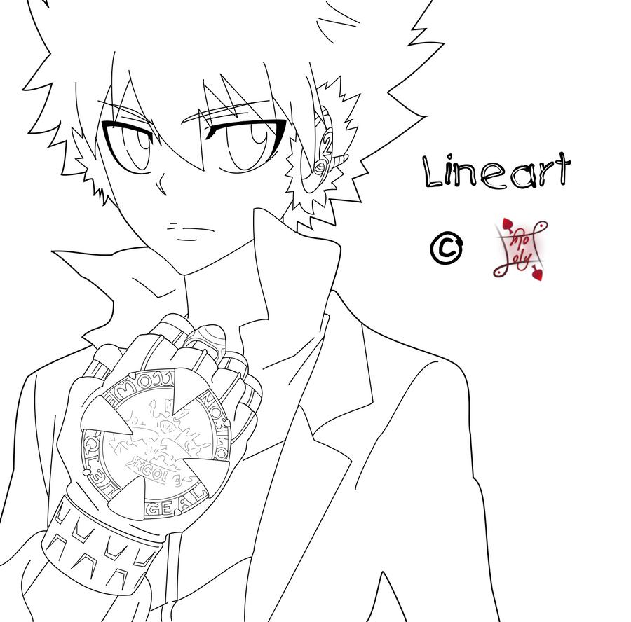 KHR Lineart - Tsuna by Lolker-chan