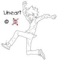 KHR Lineart - Tsuna Run by Lolker-chan
