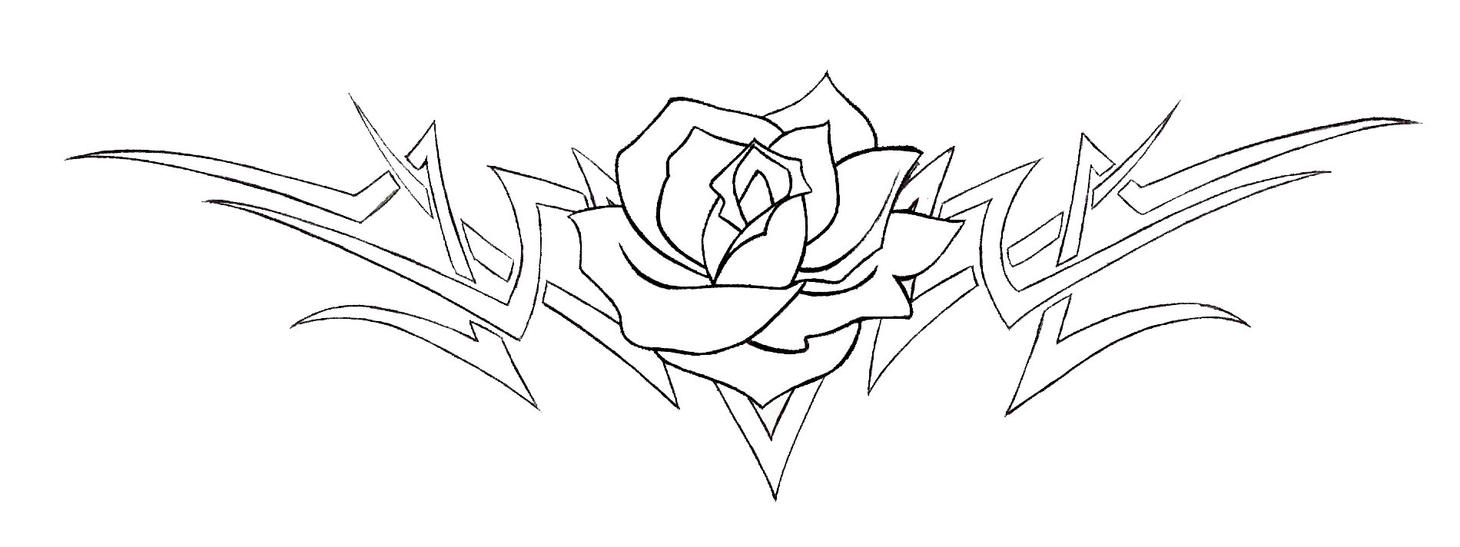 Tribal Tattoo Line Drawing : The gallery for gt tribal rose drawings